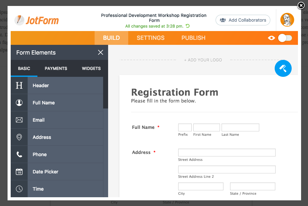 Jotform sample form